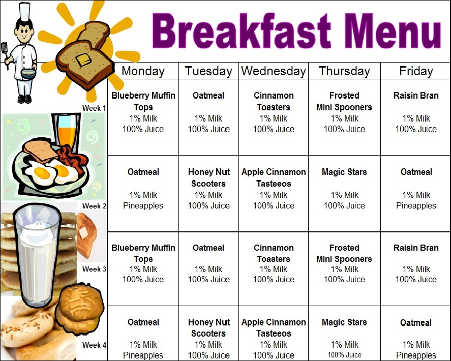 San Angelo TX Child Care | Meal Menu at Little Rascals Clubhouse